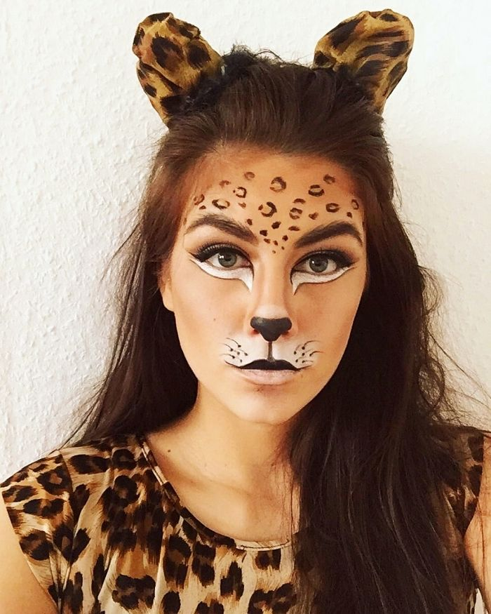 1001 Idees De Maquillage Chat A Realiser Pour Halloween Maquillage Chat Coiffure Halloween Facile Maquillage Leopard