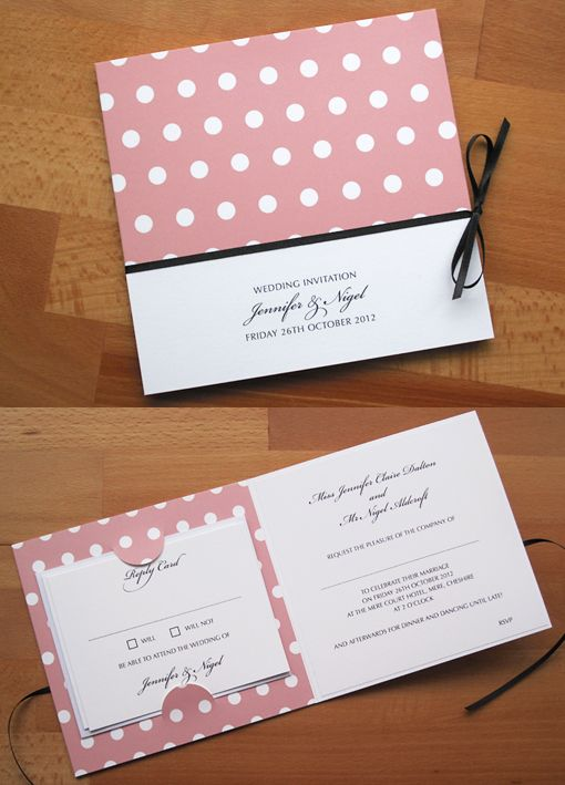 Manhattan Wedding Invitation in dusky pink with white polka dots and finished with black ribbon.