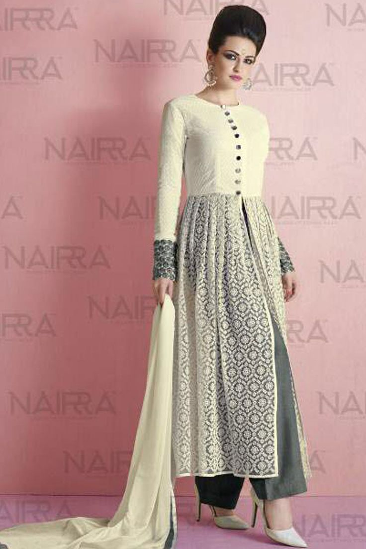 Cream & Grey Net Semi Stitch Designer Suit