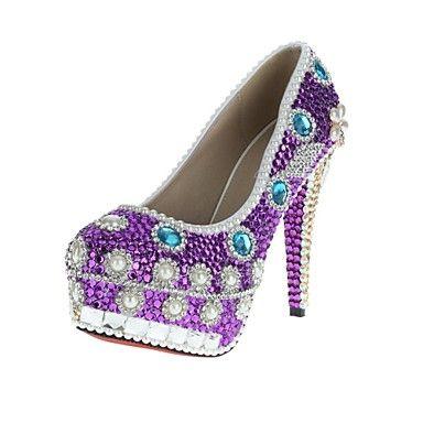 damesschoenen velcans platform naaldhak pompen hielen met strass en parel schoenen – EUR € 68.76