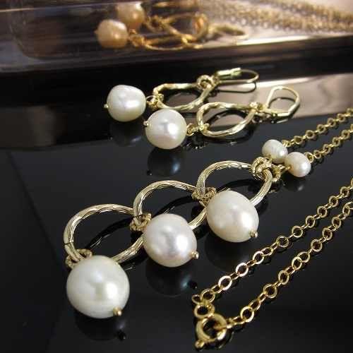 Collares mujer perlas cultivadas cadena de oro golfi ba o for Banos electroliticos para joyeria