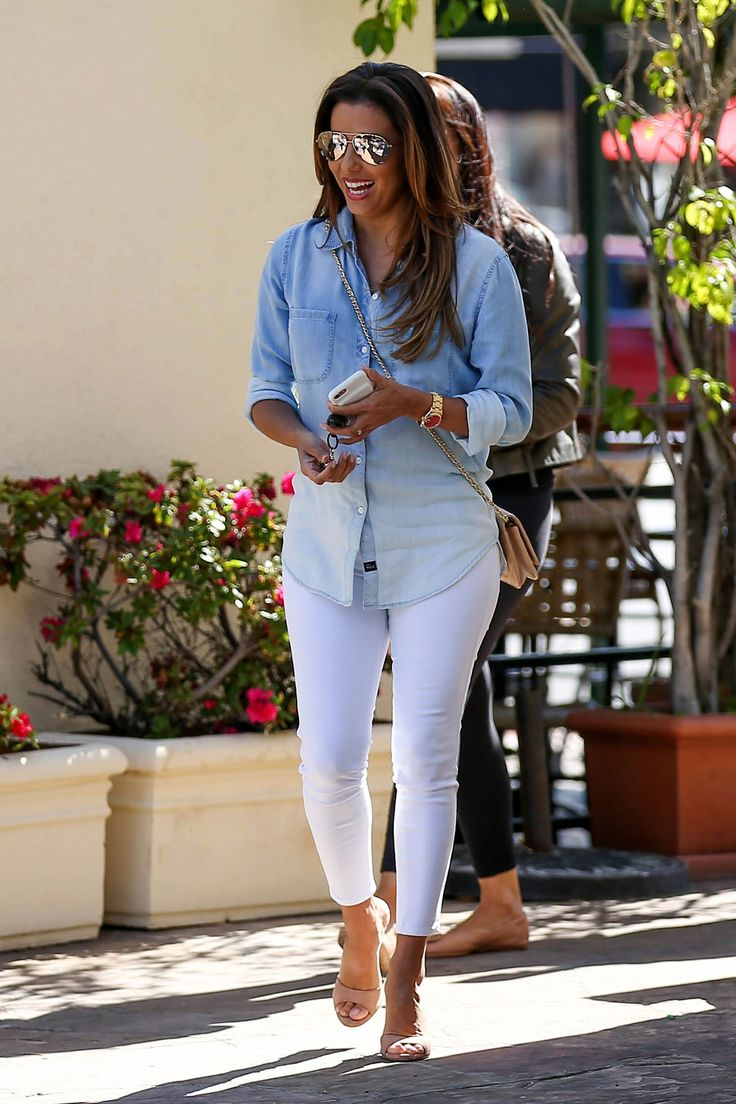 Eva Longoria's ombre denim shirt and white jeans outfit is perfect for 4th of July festivities.