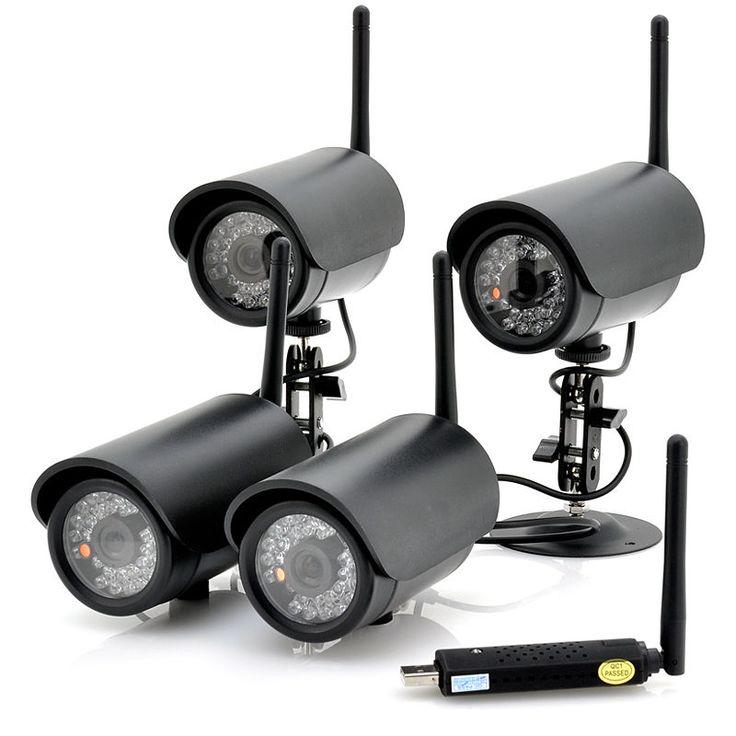 4 IP Camera Wireless Wifi Indoor Outdoor Security System USB DVR IR Night Vision