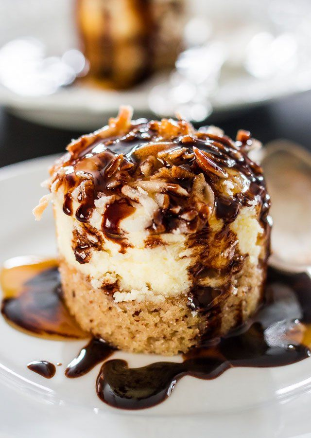Hawaiian Cheesecake Bites - decadent mini cheesecakes with pineapple on a pecan crust and topped with sweetened coconut flakes. Fabulicious!