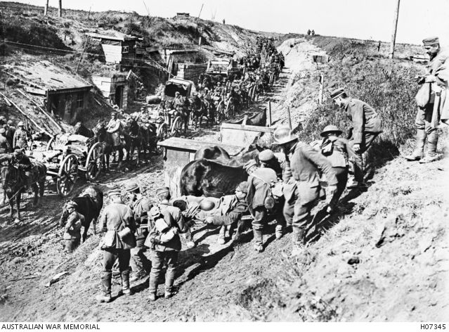 France. c. 1917. A busy scene on the Canadian Army front line during its attack on Cambrai. The German Army troops had just been driven from this position. (Donor Canadian Official Photograph)