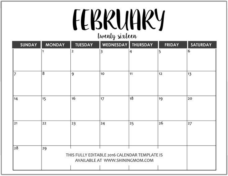 Oltre 1000 idee su February 2016 Calendar Template su Pinterest - calendar template on word
