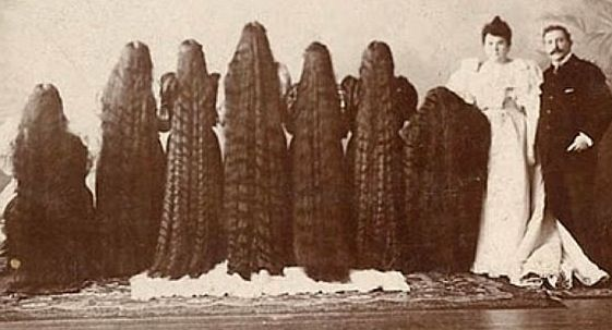 The Sutherland family was made up of father, mother, a son and seven daughters. The seven Sutherland sisters became famous for their amazingly long locks.