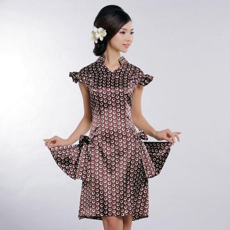 Coffee viscose short cheongsam dress. The Peony Pavilion