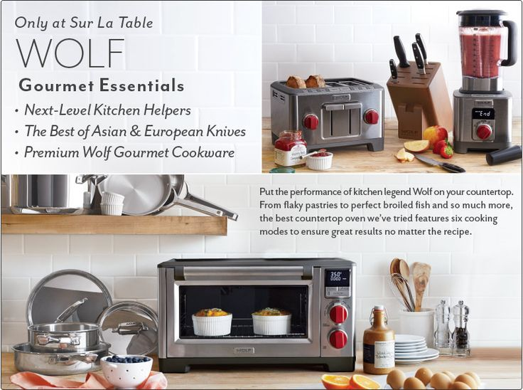Only at Sur La Table Wolf Gourmet Essentials. Next-level kitchen helpers, the best of Asian and European knives and premium Wolf Gourmet Cookware.