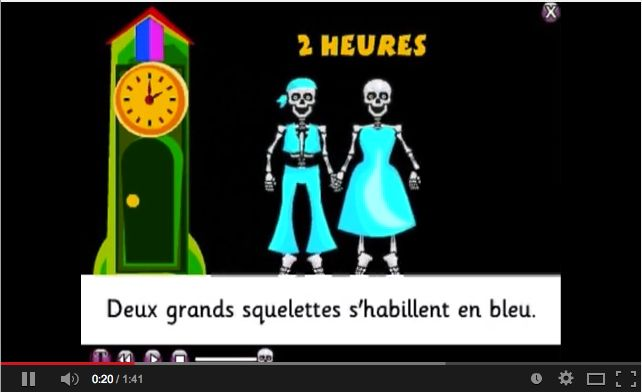 Fun song for Halloween and also for learning simple French sentences.