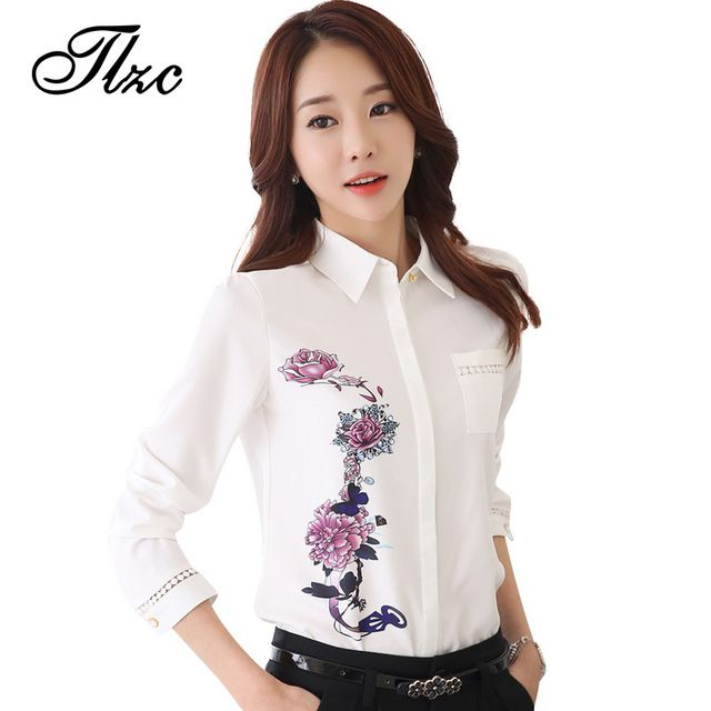 TLZC Vintage 2017 Office Lady Shirts Flower Pattern Fashion Women Blouse Size S-3XL Turn Down Collar Sweet Lady White Shirts