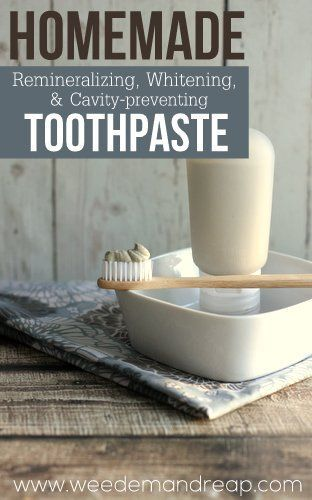 USING A HOMEMADE TOOTHPASTE CAN HELP REMINERALIZE, WHITEN, AND STRENGTHEN YOUR TEETH. Even if you are purchasing a natural toothpaste you should check out the label. It's probably got glycerin. Glycerin keeps the toothpaste smooth and holds it together, but it also creates a strong coating on the teeth that can make remineralization difficult. In fact, according to Dr. Ramiel Nagel of Cure Tooth Decay, it can take up to 30 days of not using glycerin for it to completely wash.