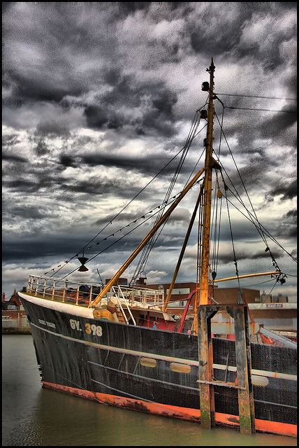 Moored boat at Grimsby, England