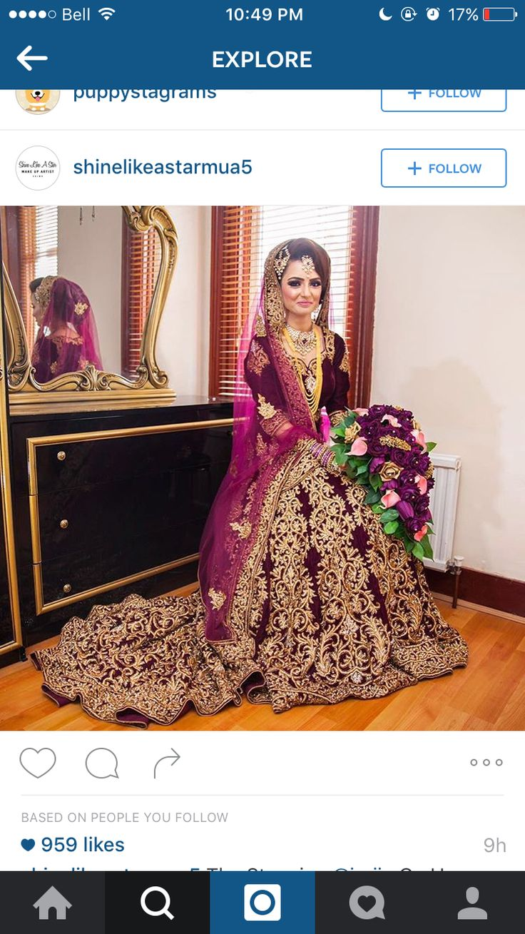 Beautiful gold embroidery and dark purple lengha with pretty bouquet