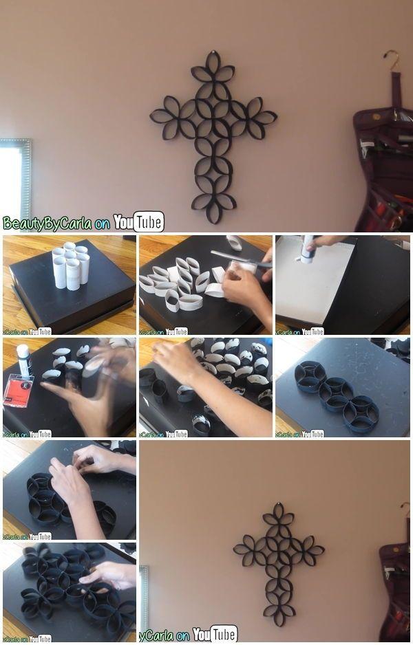 How to Make Toilet Paper Roll Cross Wall Art - http://centophobe.com/how-to-make-toilet-paper-roll-cross-wall-art/ -