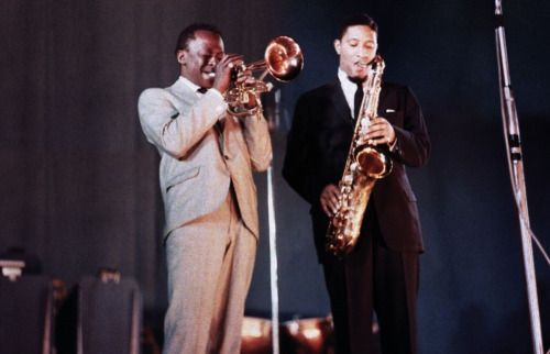 Sonny Rollins and Miles Davis at the Newport Jazz Festival, 1957