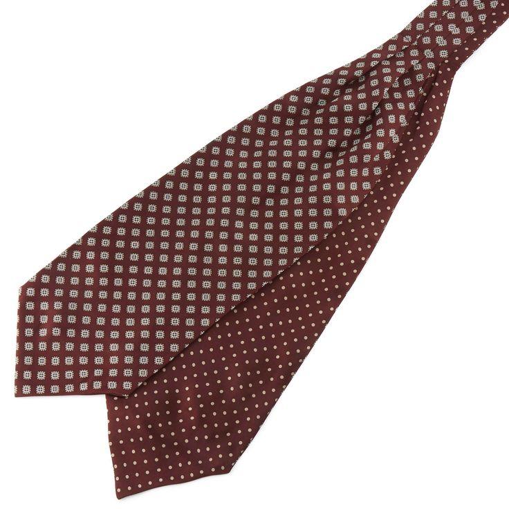 Hedvábná vínová kravatová šála Askot s geometrickým vzorem a puntíky   - Trendhim
