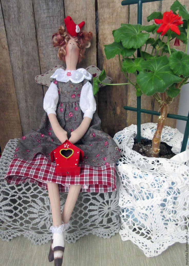 Купить Тильда Добрава - серый, красно-серый, серо-коричневый, серо-красный, птичка ♡