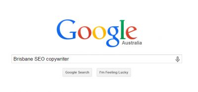 "Google screenshot of search for ""Brisbane SEO copywriter"""
