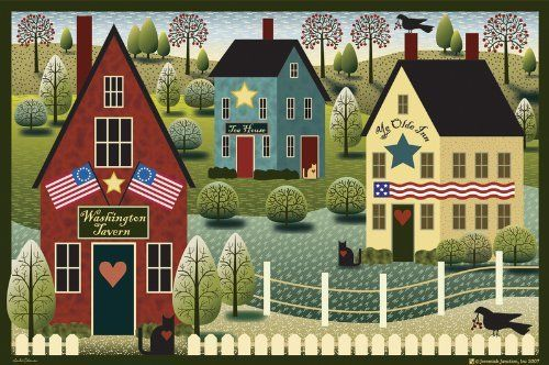"""Welcome Mats 18""""X27""""-Colonial Houses Mat by Jeremiah Junction. $16.99. Jeremiah Junction. JGM-001. Brand New Item / Unopened Product. 022023040009. jeremiah junction welcome mats. welcome guests into your home with these charming indoor outdoor printed mats. surface is 100% polyester with non skid rubber on back side. mat is weather fast light fast and can simply be sprayed off with the hose when soiled. mats measure 18x27in. imported."""