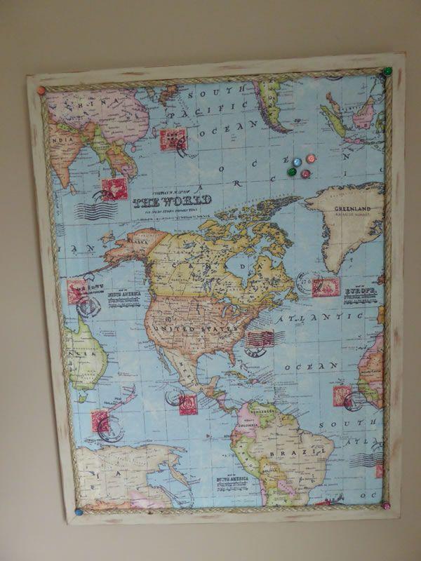Push pin board with world map background www.brushandbolt.com
