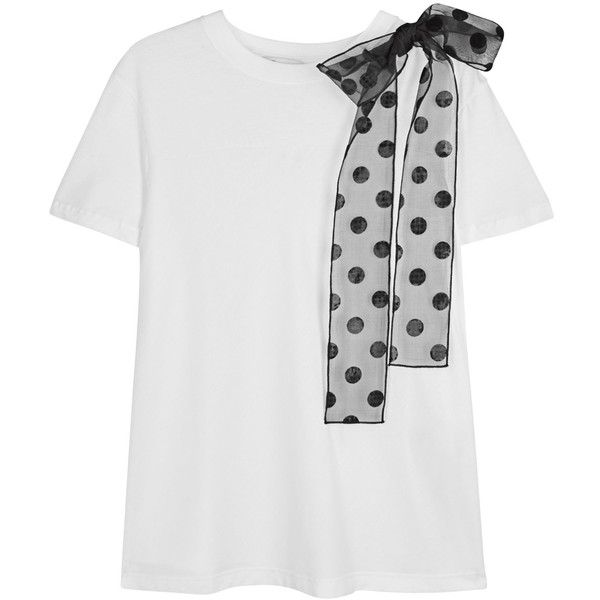 RED Valentino White bow-embellished cotton T-shirt (£150) ❤ liked on Polyvore featuring tops, t-shirts, dot top, polka dot t shirt, red valentino, dot t shirt and cotton tees