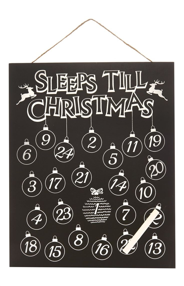 Primark how many sleeps till Christmas chalk board.