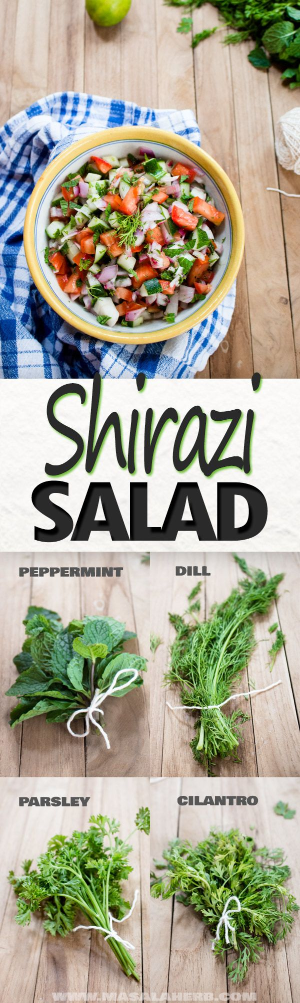Easy Shirazi Salad - Refreshing Persian Salad Recipe - cucumber, tomato, onion and fresh herbs makes this salad with a light tart dressing a refreshing side dish during the hot summer days. Serve with meat kebabs, bbq, steak, pilaf, flat bread. www.MasalaHerb.com #salad #persian #herbs
