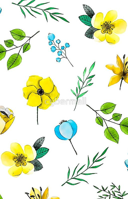 Watercolor Pattern with Yellow Blue Flowers