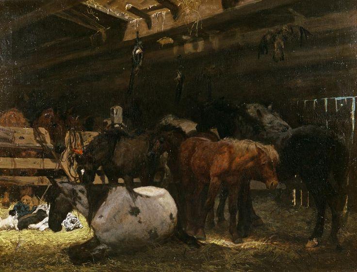 """Józef Chełmoński """"W stajni"""", 1872, olej na płótnie, 88 x 117 cm, własność prywatna"""