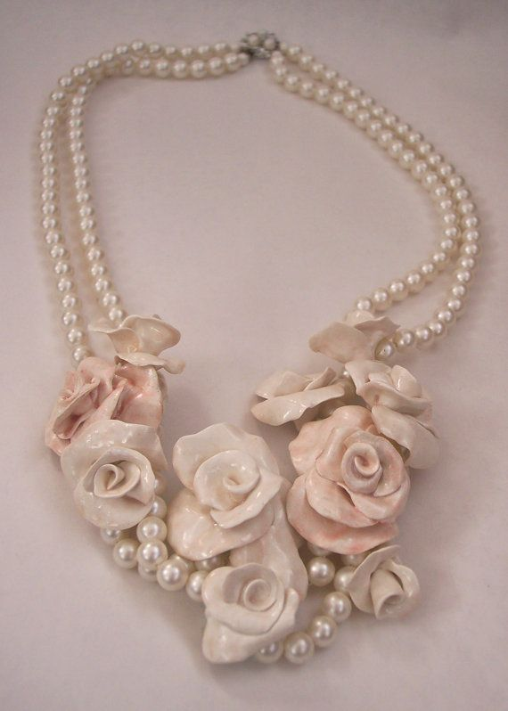 Flowers and Pearls Necklace 3 Hand Sculpted by secondlookjewelry, $145.00