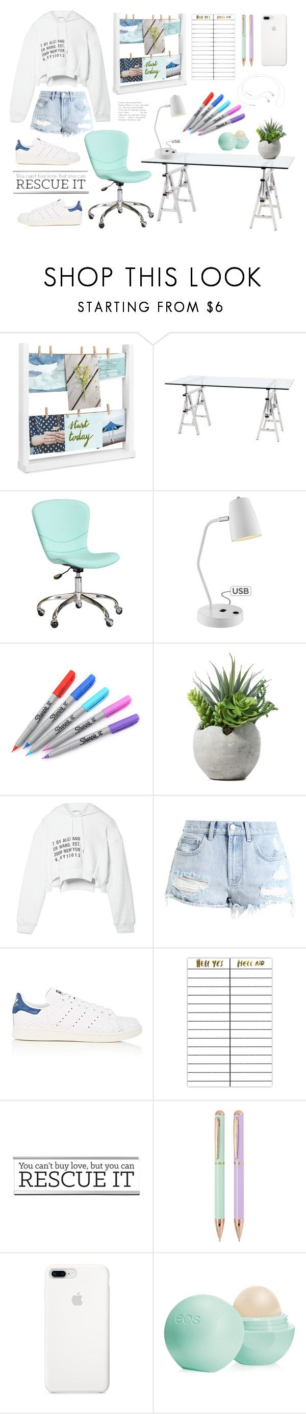 """On my desk"" by makimpm ❤ liked on Polyvore featuring Umbra, Eichholtz, PBteen, Lite Source, Sharpie, T By Alexander Wang, Billabong, adidas, Terrapin Stationers and Eos"