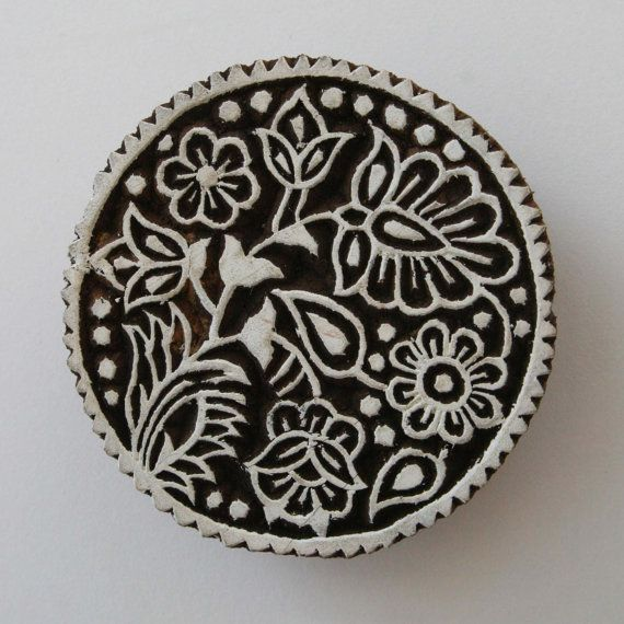 Large Round Floral Stamp Indian Style Hand by GilbertsTree