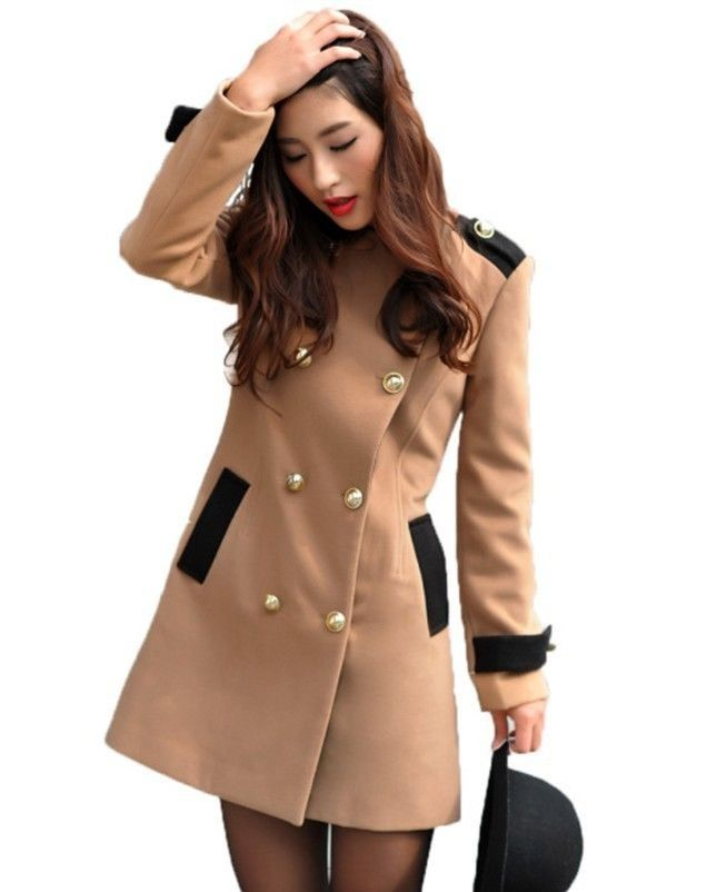 Womens Lapel Trench Double-Breasted Slim Parka Jacket Warm Coat Blazer Outwear Condition: 100% brand new! Material:Woolen Color:Camel 、Black