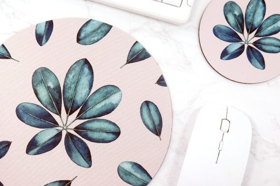 Tropical Mouse Pad Leaf Mouse Mat Desk Accessories for Women