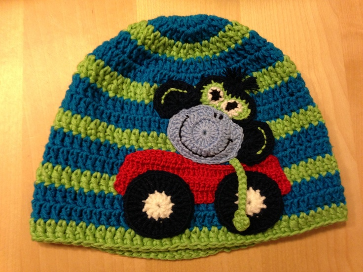 The Monkey is driving his car Hat for my boy