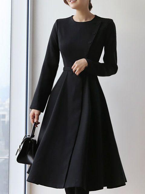10773fc9c21 Solid Work Black A-Line Daily Midi Dress