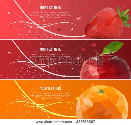 Banners set for business with Low Poly Fruit Background