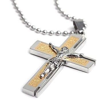 mode jesus bibeln rostfritt stål kors hängsmycke halsband män smycken (köp 1 få 2 gratis gåvor) – SEK Kr. 77