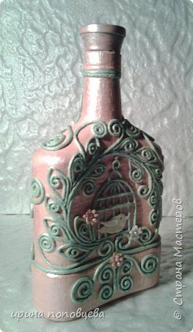 Декор предметов Аппликация из скрученных жгутиков Декупаж Пейп-бутылочка Яблонька Салфетки фото 2