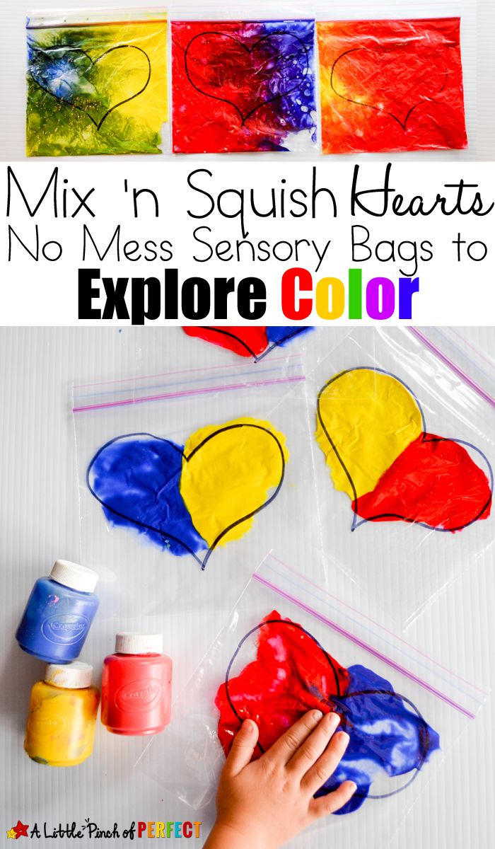 Unit study colors preschool - Mix N Squish Hearts No Mess Sensory Bags To Explore Color With Kids
