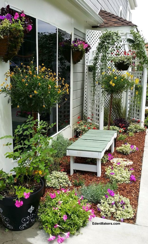 Small, narrow garden bed makeover using an arbor as a hanging plant structure. Designed by Shirley Bovshow as seen on Home and Family show on Hallmark channel. Go to EdenMakers.com for photos and details.