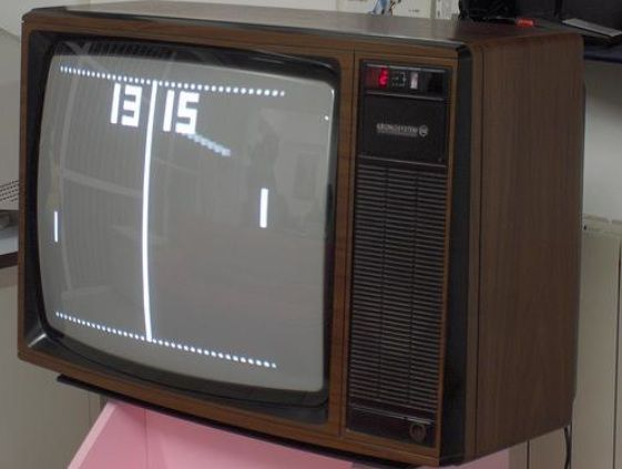 Pong. We thought this was the greatest thing ever. What would they think of next!!!! Little did we know. Then it burned the image on the screen.
