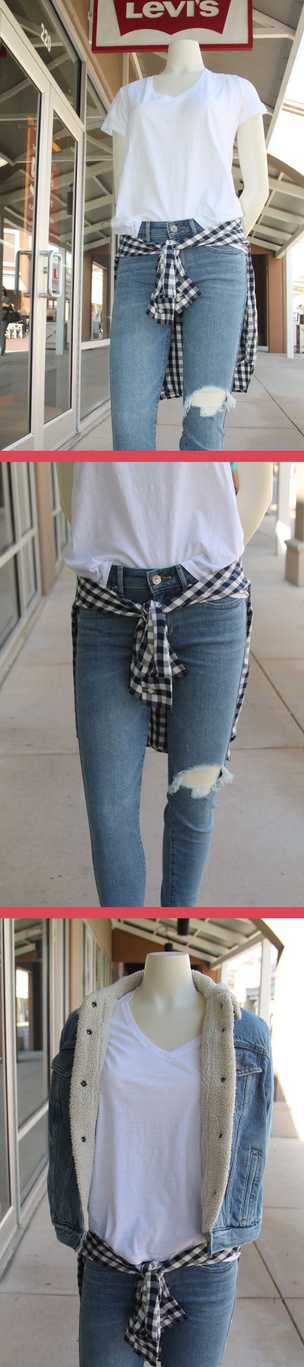 Classic jeans and white Tee look found at Levi's Outlet Store at the Outlets of Mississippi in Pearl, MS!  Buy more than one pair of jeans and get each pair at $39.95 each!