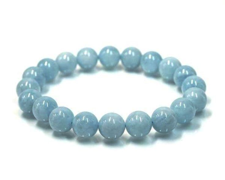 Aquamarine Power Bracelet to Calm the Mind-8mm   New Earth Gifts