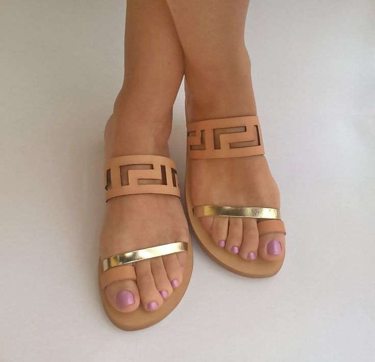 Handmade Leather Sandals Gold Greek Classic High Design Ancient Hippie Style