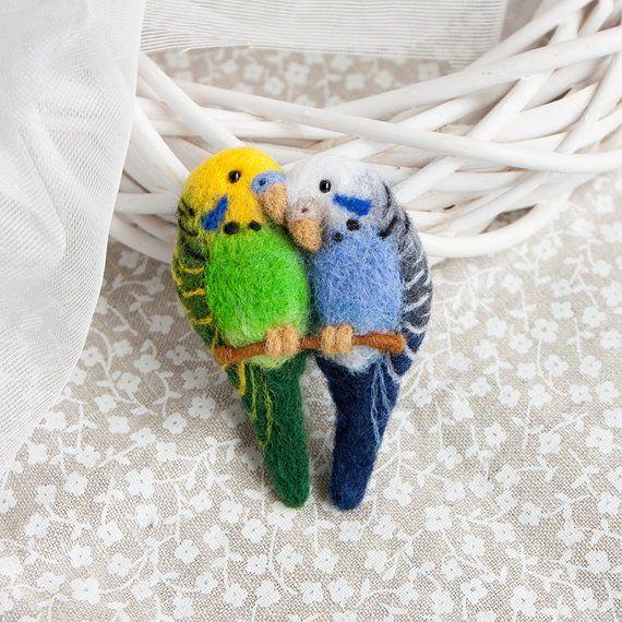 Parrot brooch Budgerigars brooch Love birds jewelry by znmystery 28$