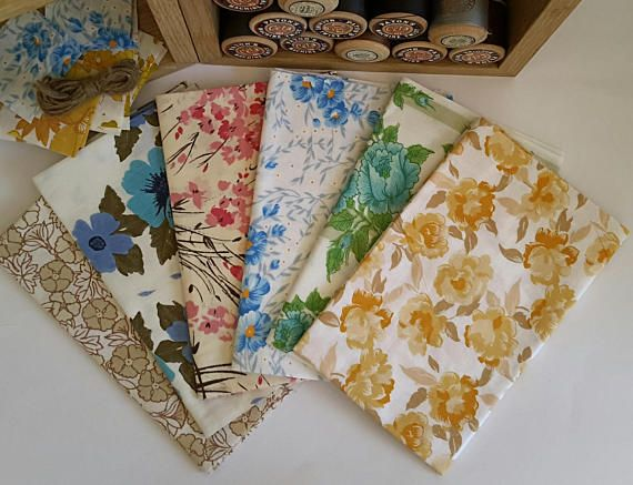 Vintage Bed Sheets Fat Quarter Bundle Vintage Floral Fabric