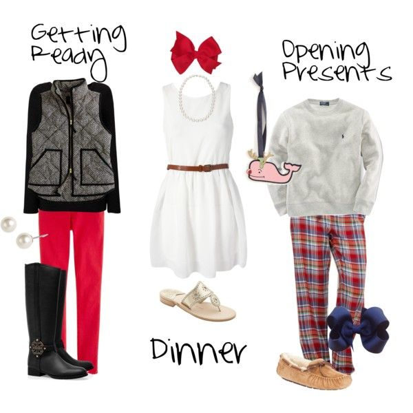 """""""Christmas Eve OOTDs"""" by classically-preppy on Polyvore"""