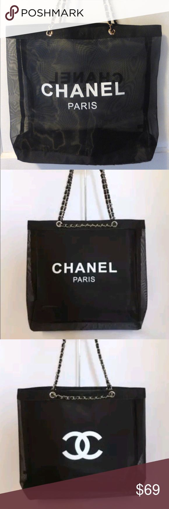 "Authentic Chanel mesh tote bag vip gift bag Authentic Chanel VIP gift bag mesh tote bag shoulder bag brand new. Gold chain . Size 15x15"" . Chain drop 11"". This is a VIP promotional gift form a Chanel store in Korea. With original packaging bag. 100 % Authentic. CHANEL Bags Shoulder Bags"